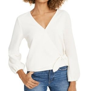 Madewell Texture & Thread Ivory Crepe Wrap Top S M